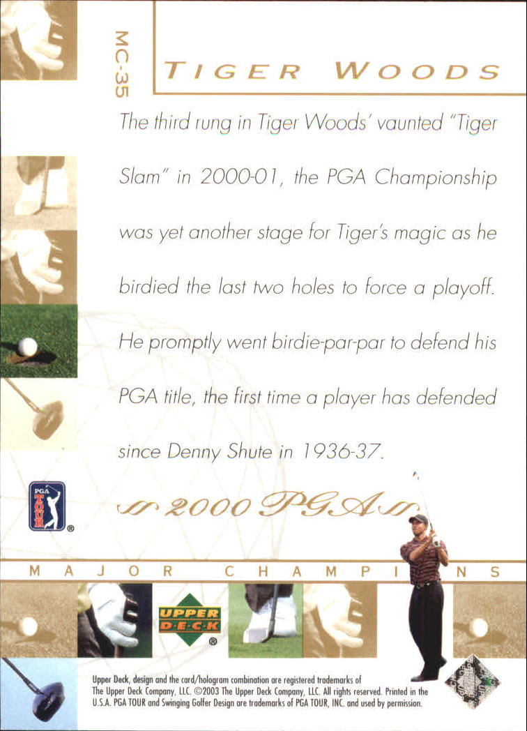 2003 Upper Deck Major Champions #35 Tiger Woods 00 PGA back image