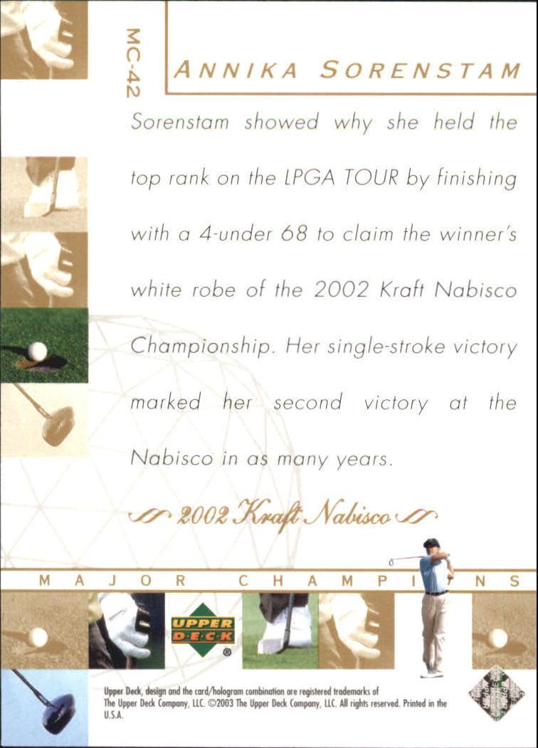2003 Upper Deck Major Champions #42 Annika Sorenstam 02 LPGA back image