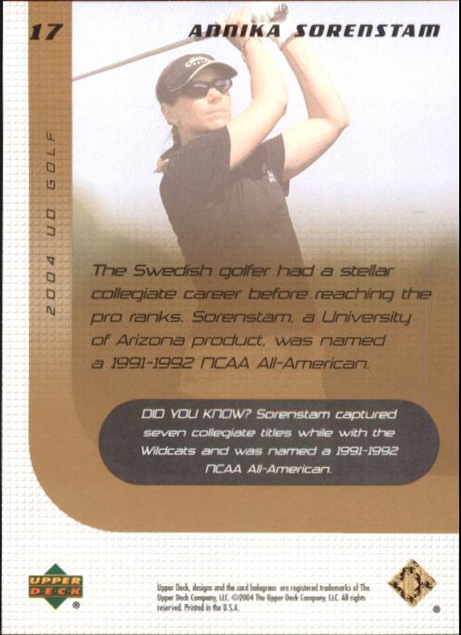 2004 Upper Deck #17 Annika Sorenstam back image