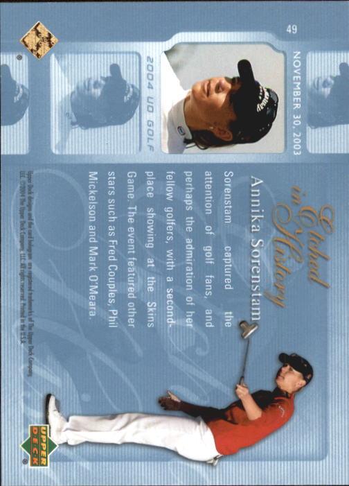 2004 Upper Deck #49 Annika Sorenstam EH back image