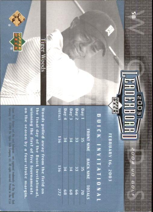2004 Upper Deck #58 Tiger Woods LB back image