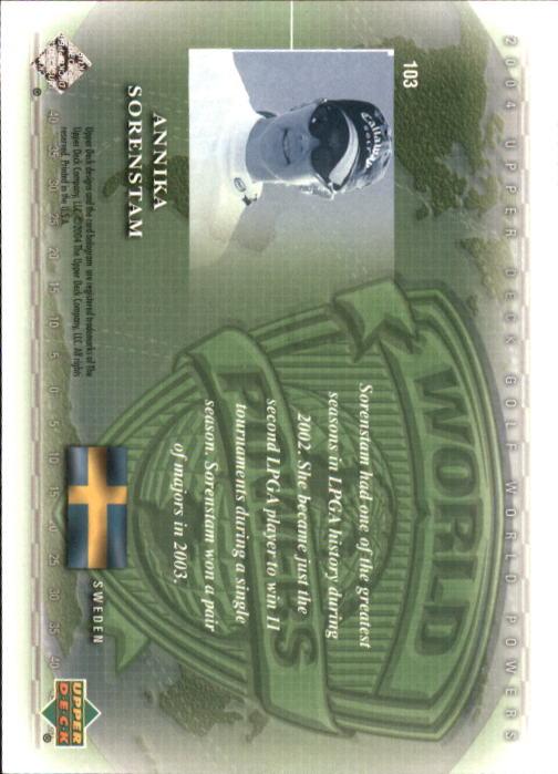 2004 Upper Deck #103 Annika Sorenstam WP back image