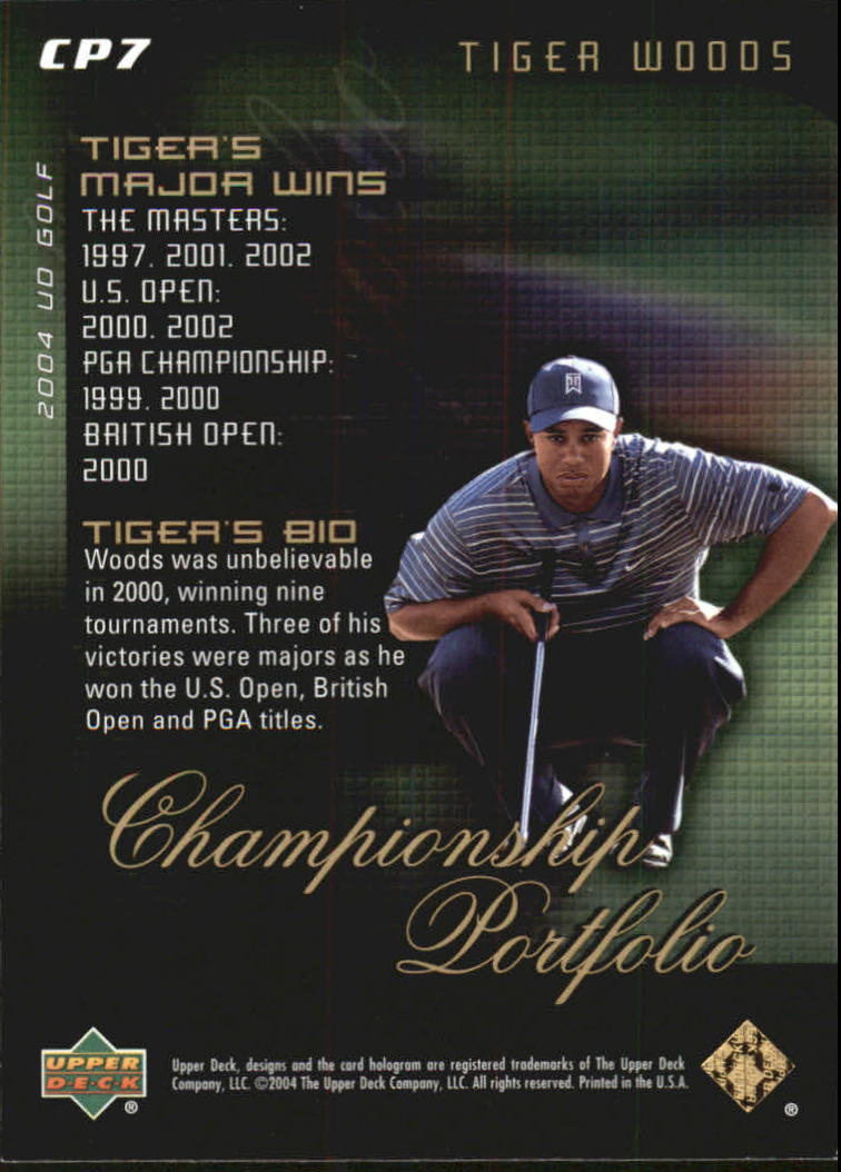2004 Upper Deck Champion Portfolio #CP7 Tiger Woods back image