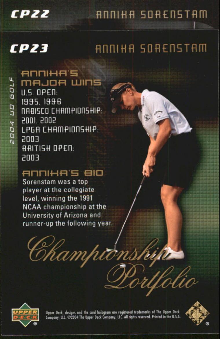 2004 Upper Deck Champion Portfolio #CP23 Annika Sorenstam back image