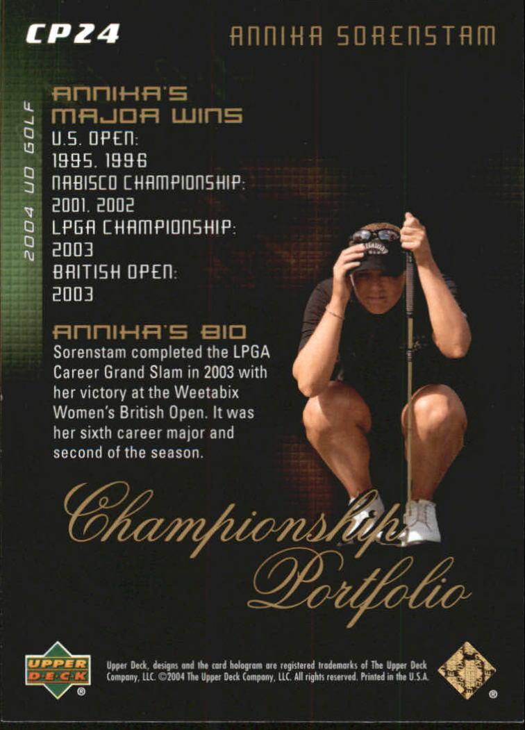 2004 Upper Deck Champion Portfolio #CP24 Annika Sorenstam back image