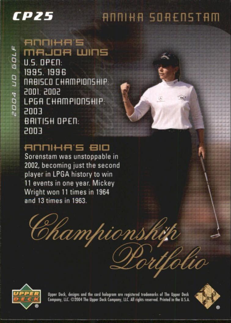 2004 Upper Deck Champion Portfolio #CP25 Annika Sorenstam back image