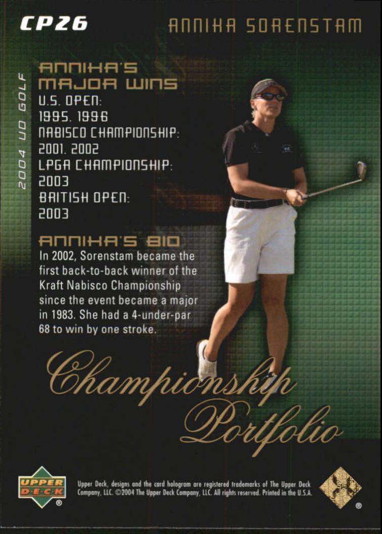 2004 Upper Deck Champion Portfolio #CP26 Annika Sorenstam back image