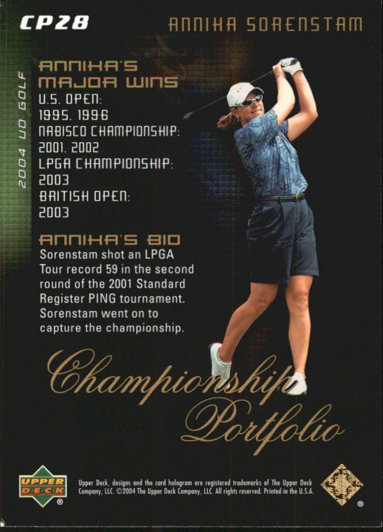 2004 Upper Deck Champion Portfolio #CP28 Annika Sorenstam back image