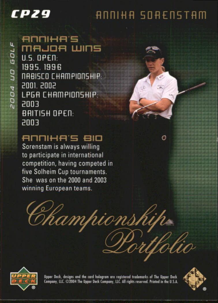 2004 Upper Deck Champion Portfolio #CP29 Annika Sorenstam back image