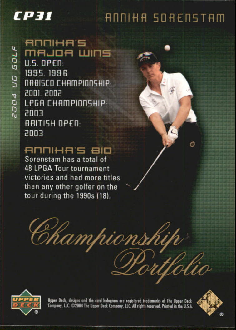 2004 Upper Deck Champion Portfolio #CP31 Annika Sorenstam back image