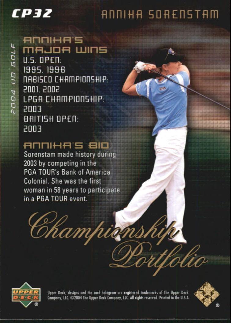 2004 Upper Deck Champion Portfolio #CP32 Annika Sorenstam back image