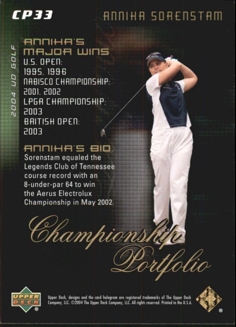 2004 Upper Deck Champion Portfolio #CP33 Annika Sorenstam back image