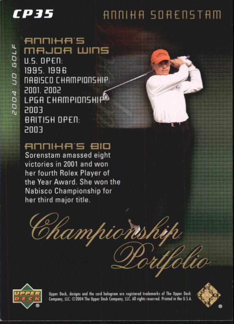 2004 Upper Deck Champion Portfolio #CP35 Annika Sorenstam back image