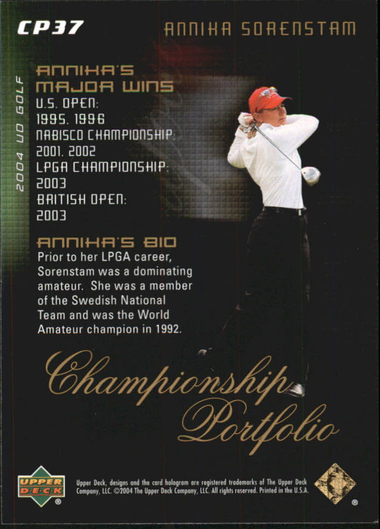 2004 Upper Deck Champion Portfolio #CP37 Annika Sorenstam back image