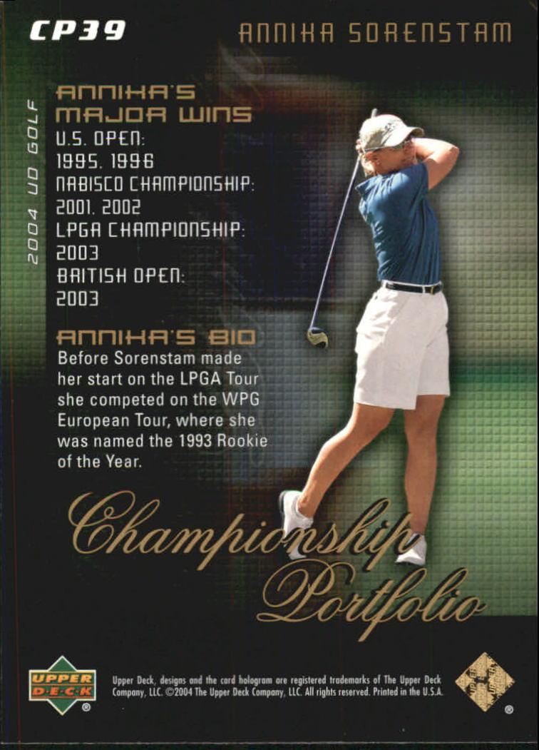 2004 Upper Deck Champion Portfolio #CP39 Annika Sorenstam back image