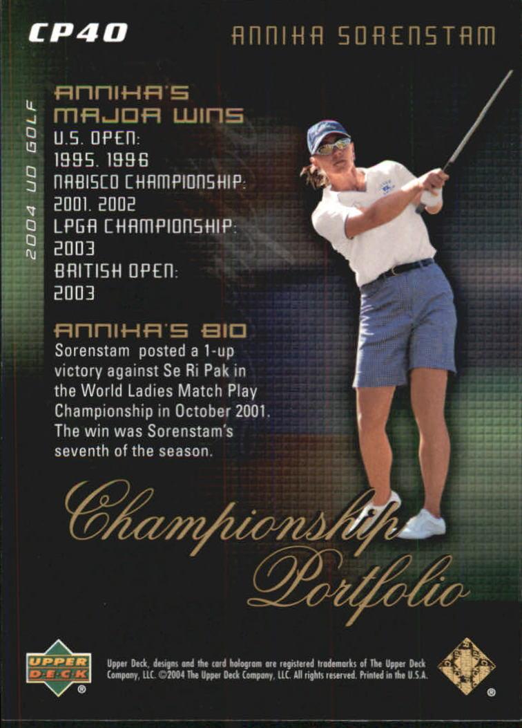 2004 Upper Deck Champion Portfolio #CP40 Annika Sorenstam back image