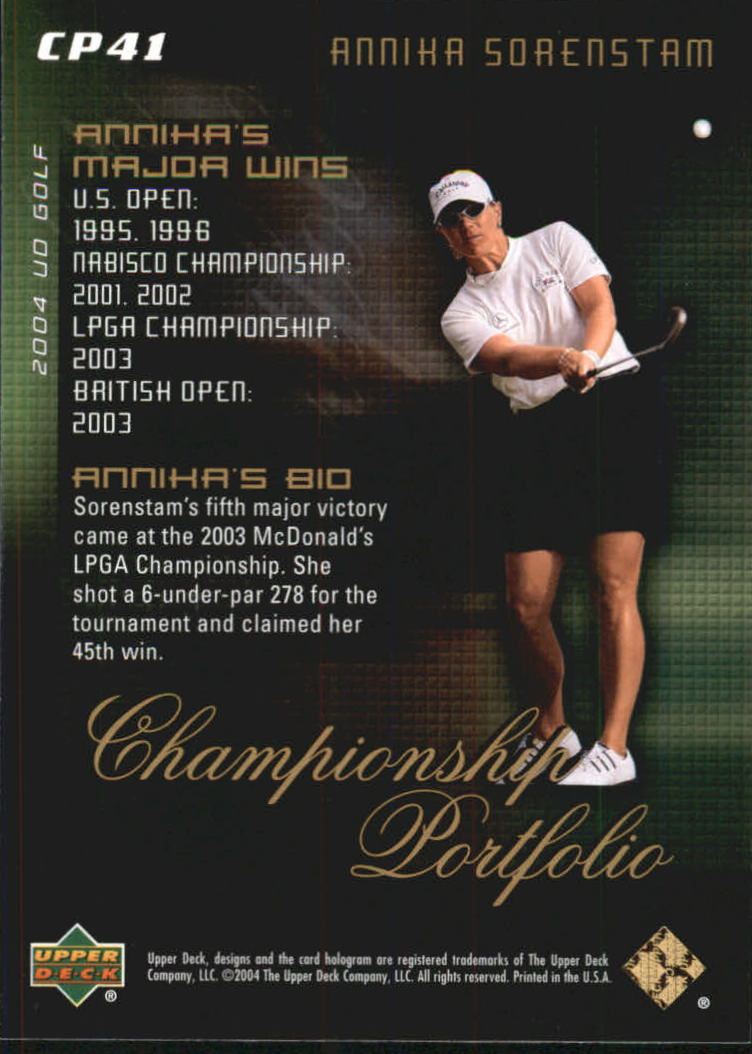 2004 Upper Deck Champion Portfolio #CP41 Annika Sorenstam back image