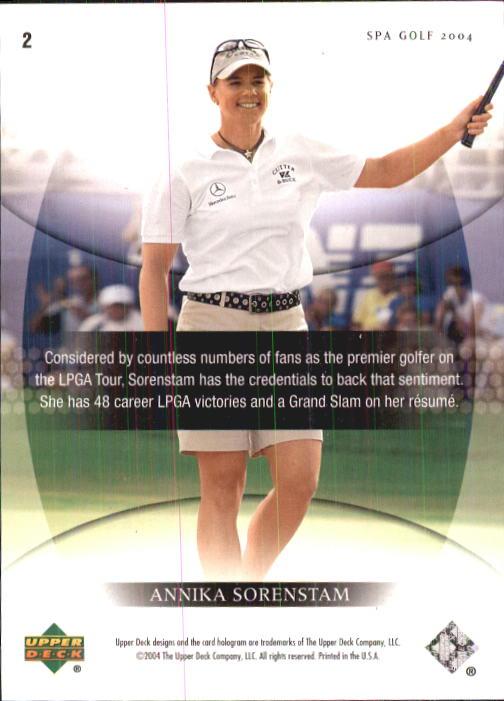 2004 SP Authentic #2 Annika Sorenstam back image