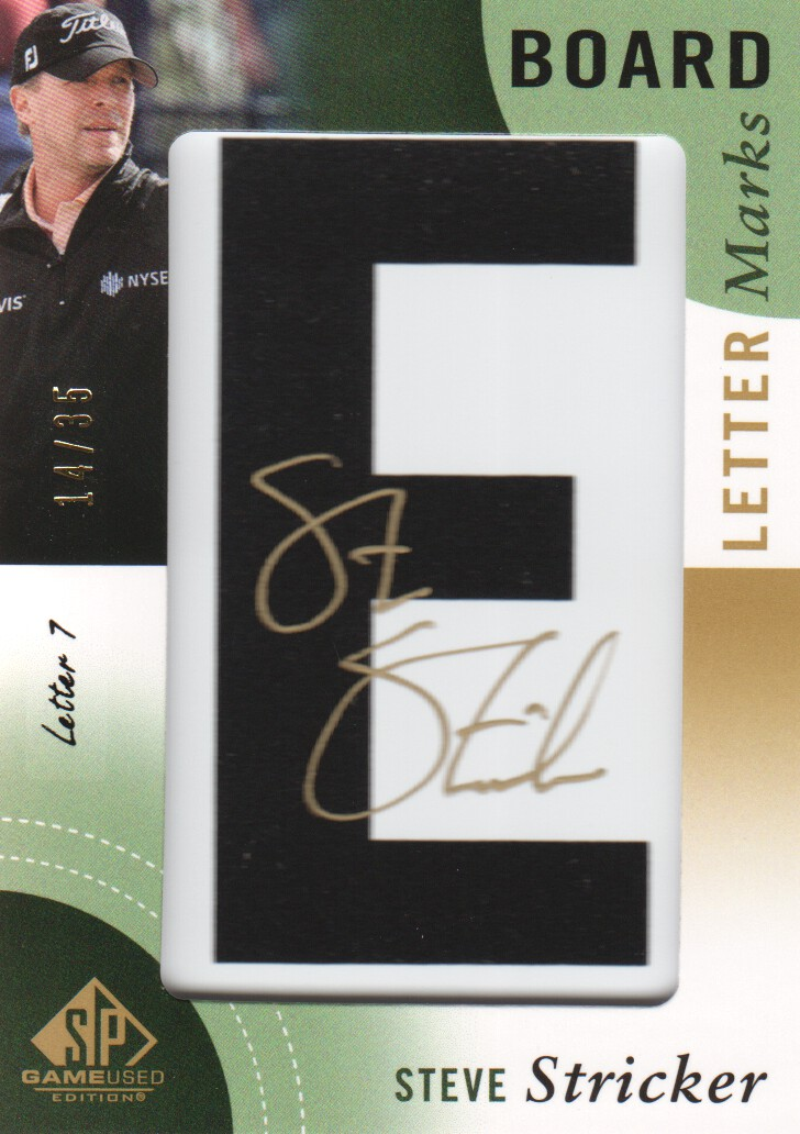 2014 SP Game Used Leader Board Letter Marks #LLSS7 Steve Stricker E/35