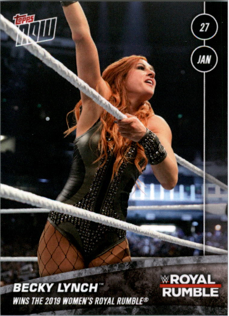 2019 TOPPS NOW WWE #18 BECKY LYNCH WINS RAW AND SMACKDOWN WOMEN/'S CHAMPIONSHIP