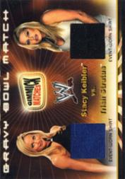 2002 Fleer WWF Royal Rumble Gimmick Matches Dual Memorabilia #2 Stacy Keibler/Trish Stratus