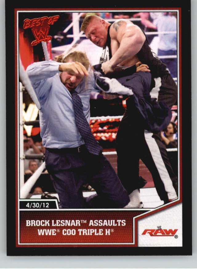 2013 Topps Best of WWE #10 Brock Lesnar Assaults WWE COO Triple H