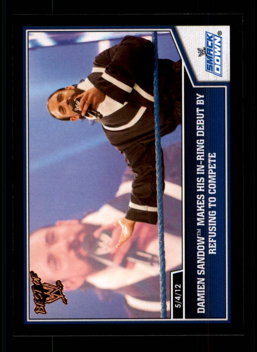 2013 Topps Best of WWE #12 Damien Sandow Makes his In-Ring Debut by Refusing to Compete