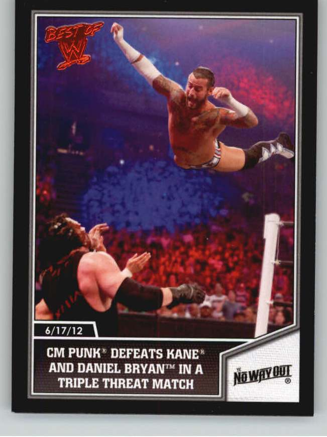2013 Topps Best of WWE #18 CM Punk Defeats Kane and Daniel Bryan in a Triple Threat Match
