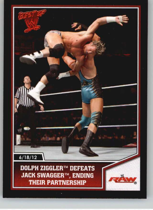 2013 Topps Best of WWE #20 Dolph Ziggler Defeats Jack Swagger, Ending their Partnership