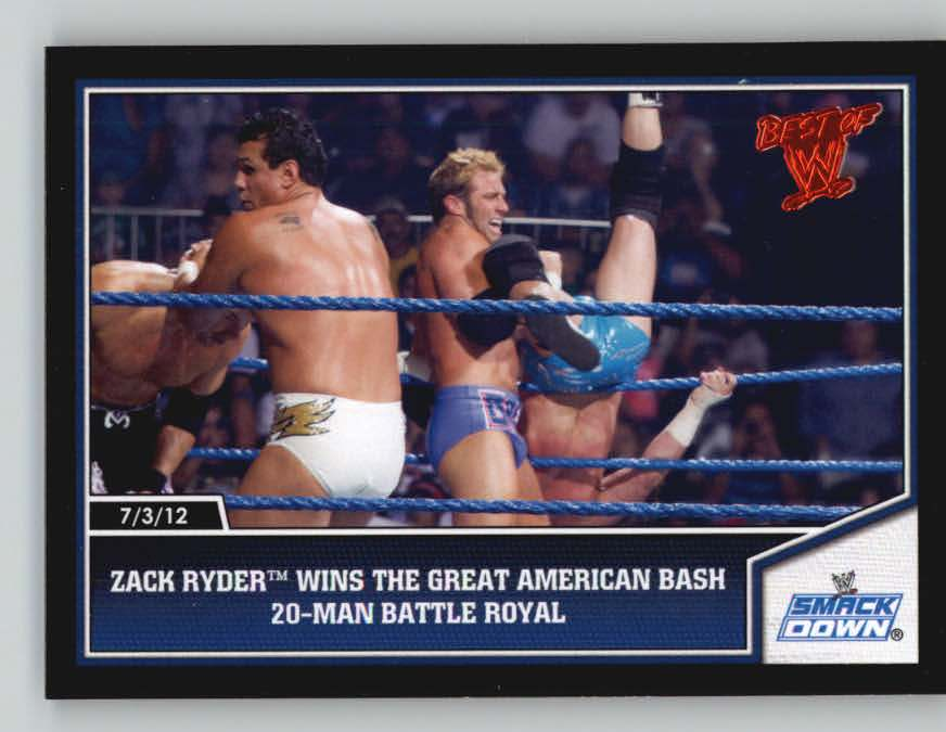 2013 Topps Best of WWE #22 Zack Ryder Wins The Great American Bash 20-Man Battle Royal