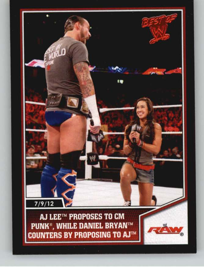 2013 Topps Best of WWE #23 AJ Lee Proposes to CM Punk, While Daniel Bryan Counters by Proposing to AJ