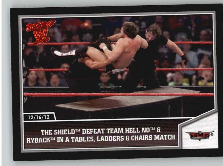 2013 Topps Best of WWE #68 The Shield Defeat Team Hell No and Ryback in a Tables, Ladders and Chairs Match