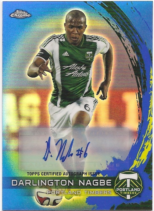 2014 Topps Chrome MLS Autographs Blue Refractors #18 Darlington Nagbe