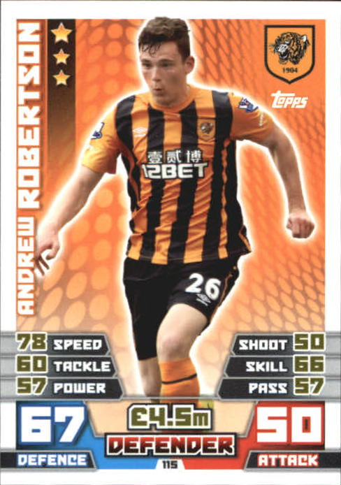 415 2016 Andrew ROBERTSON Hull 2017 EPL Match Attax Man of the Match