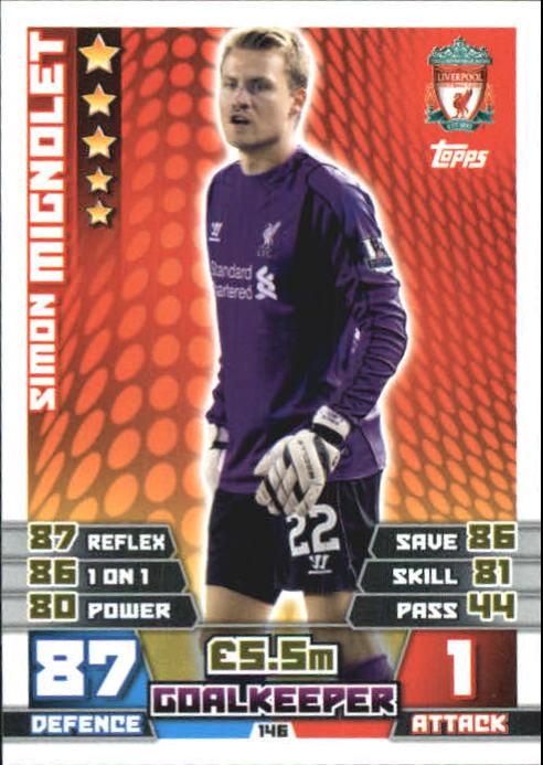Liverpool #146 Simon Mignolet Match Attax 2014//15 Premier League
