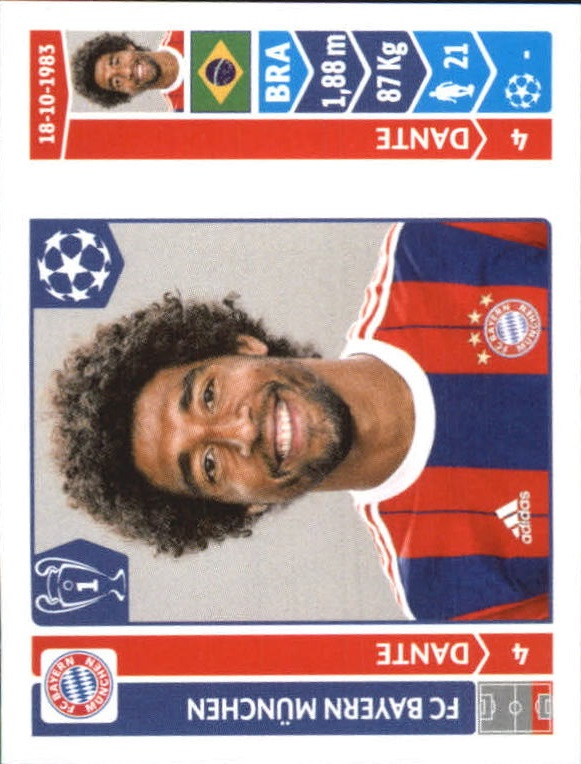 Panini Liga de Campeones 2014//15 Dante FC Bayern Munchen no 348