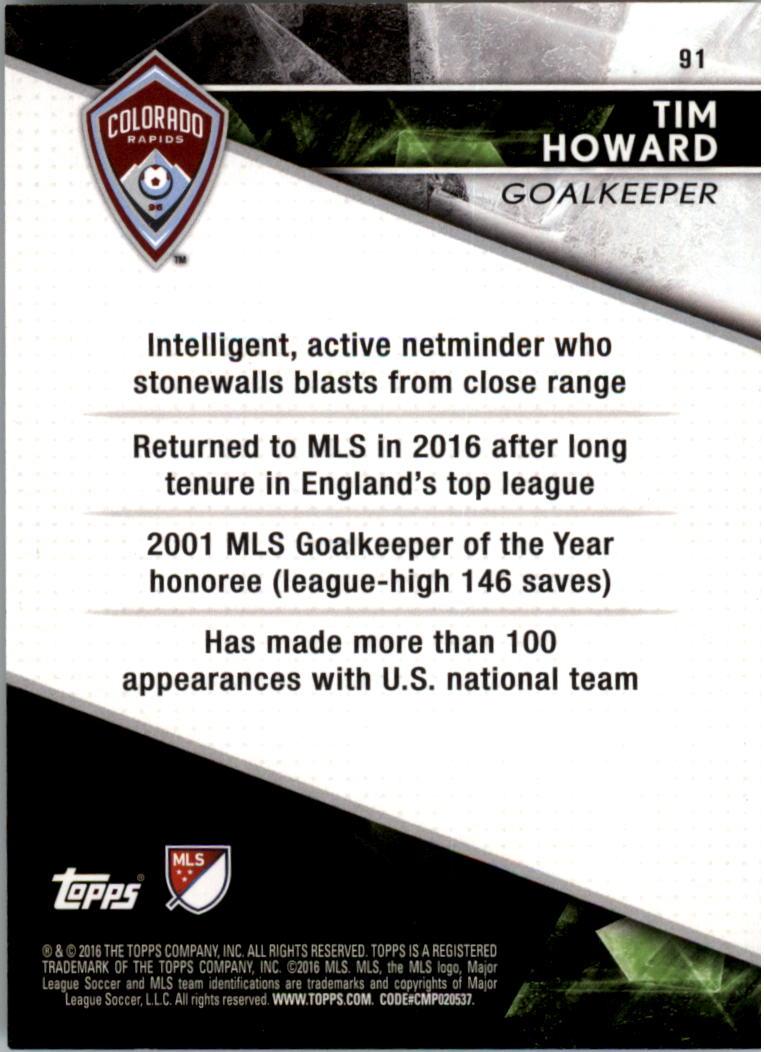 2016 Topps Apex MLS #91 Tim Howard back image