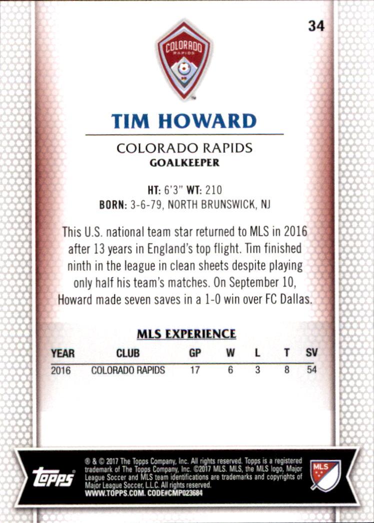 2017 Topps MLS #34 Tim Howard back image