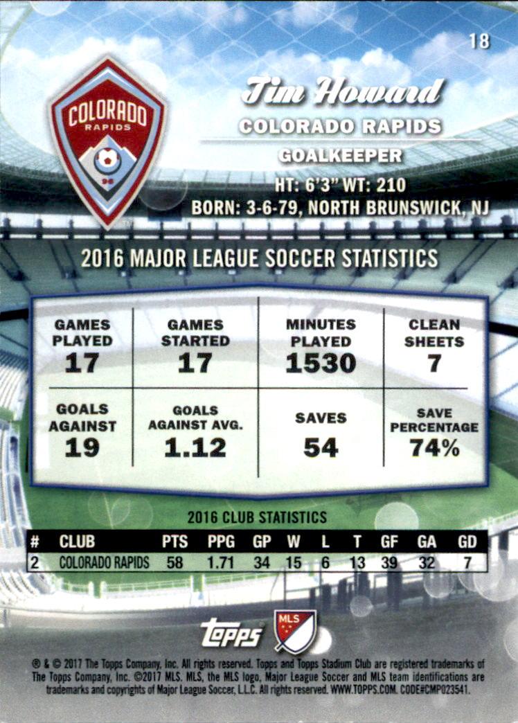 2017 Stadium Club MLS #18A Tim Howard back image