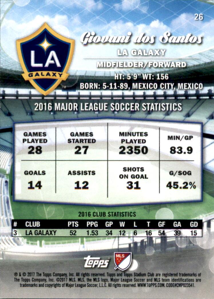 2017 Stadium Club MLS #26A Giovani dos Santos back image