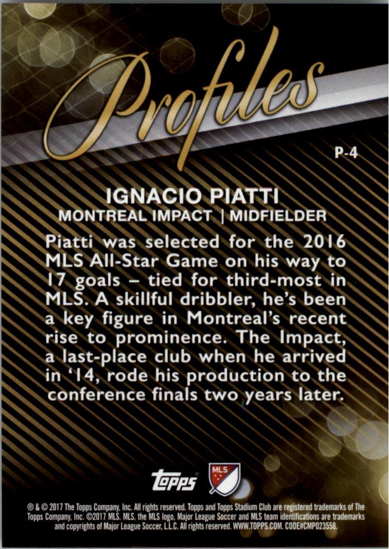 2017 Stadium Club MLS Profiles #P4 Ignacio Piatti back image