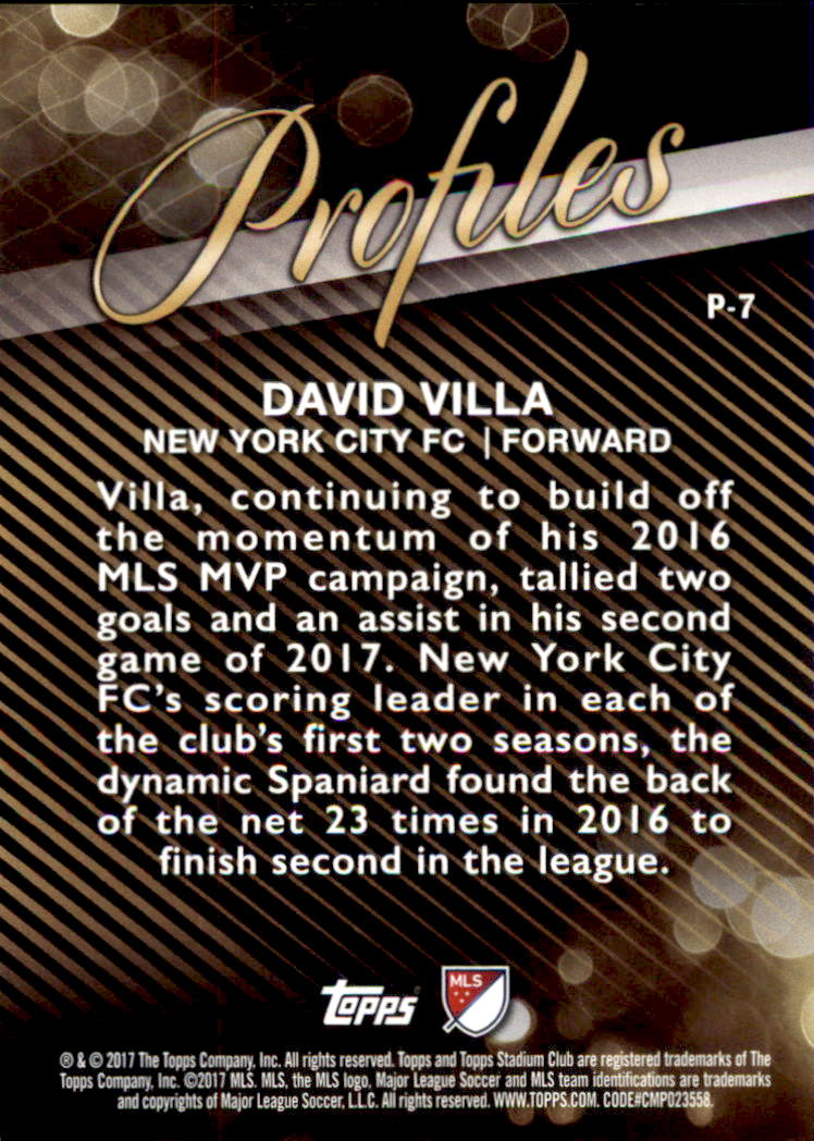 2017 Stadium Club MLS Profiles #P7 David Villa back image