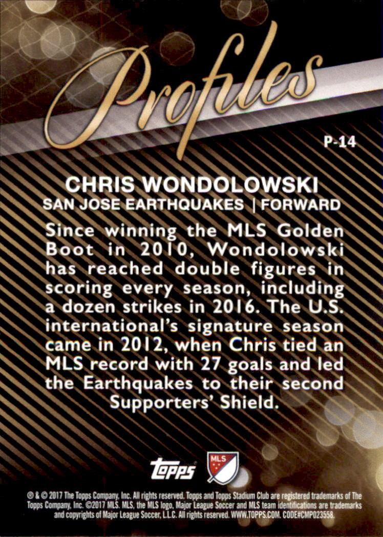 2017 Stadium Club MLS Profiles #P14 Chris Wondolowski back image