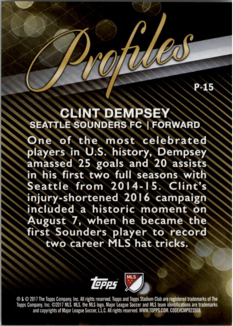 2017 Stadium Club MLS Profiles #P15 Clint Dempsey back image