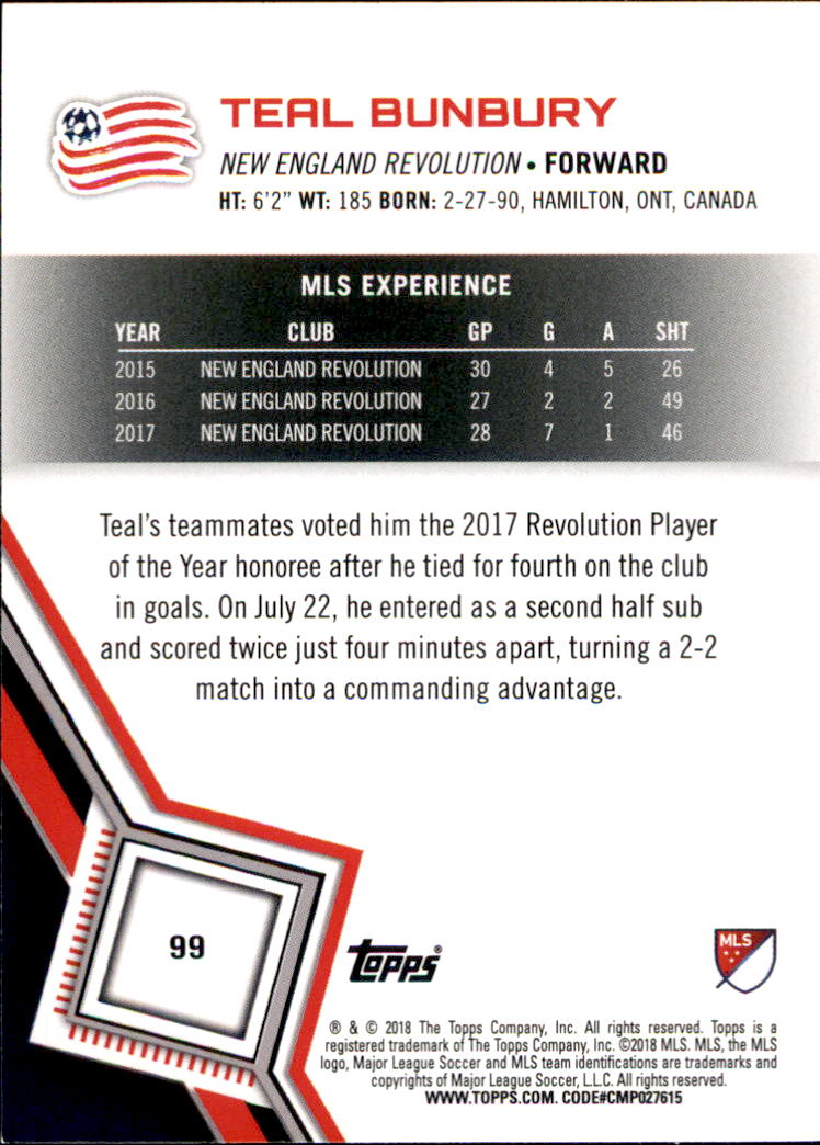 Details about 2018 Topps MLS Soccer #99 Teal Bunbury New England Revolution