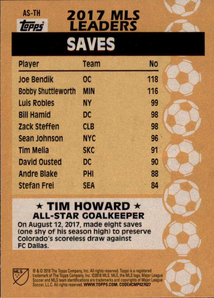 2018 Topps MLS All Stars #ASTH Tim Howard back image