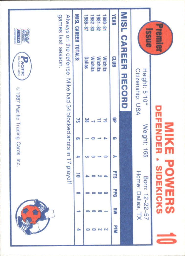 1987 Pacific MISL #10 Mike Powers back image