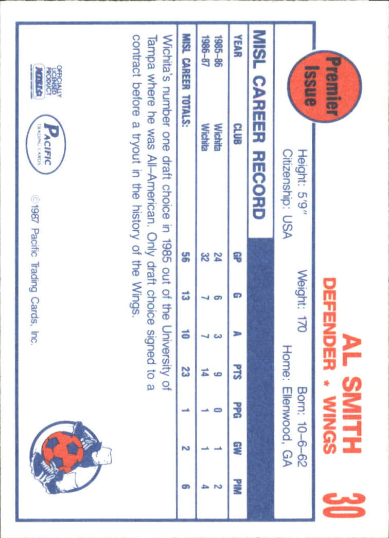 1987 Pacific MISL #30 Al Smith back image