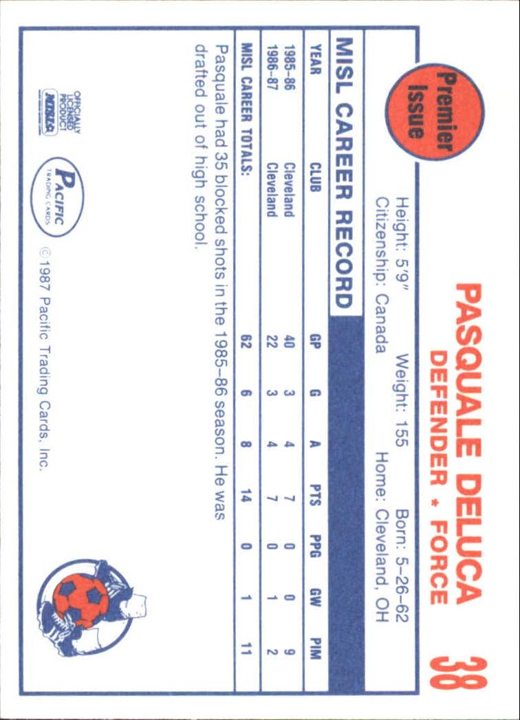 1987 Pacific MISL #38 Pasquale Deluca back image