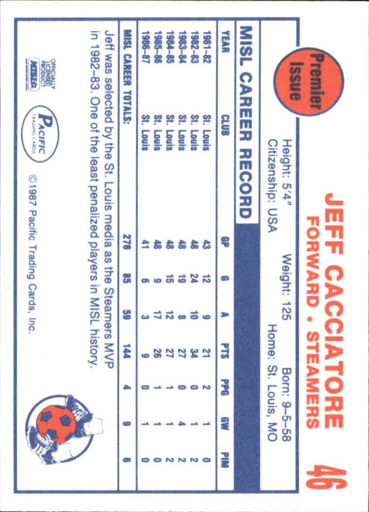1987 Pacific MISL #46 Jeff Cacciatore back image